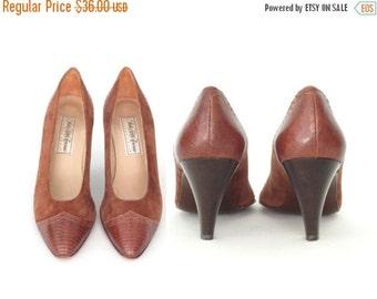 SALE Vintage Pumps * Suede Spectator Heels * 70s Kitten Heels * Saks Fifth Ave * size 7