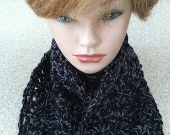 Woman's Crocheted Infinity/Cowl Scarf in Shimmery Black and Gray