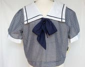 Late 1970s Plus Size Sailor Blouse, Blue Gingham, Deadstock, Extra Large, XL, 1X