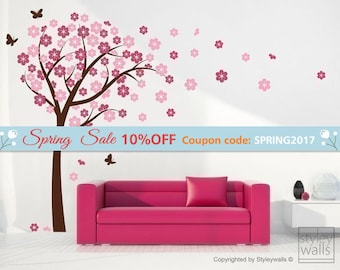 Cherry Blossom Wall decal,  Blooming Cherry Tree Wall Sticker, Butterflies Flower Tree Vinyl Wall Decal Kids Nursery, Cherry Tree Sticker