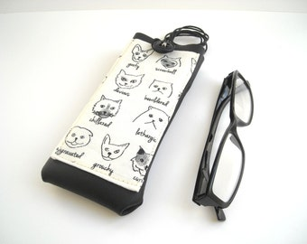 Funny cats glasses case, eyeglass neck holder, eyewear cover with lanyard, black and white eco leather vegan sunglasses case with pocket