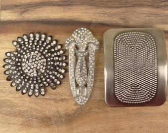 Vintage Rhinestone Shoe Buckle, Black Sunflower Rhinestone Finding, Dotted Square Shoe Buckle, Vintage Jewelry Destash D46