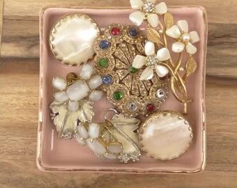 Vintage Rhinestone, Faux Pearl Trifari Flower Brooch, Pot Metal Colorful, SAC MOP Clip On Earrings, Leaf, Moonstone Vintage Jewelry Lot D48