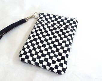 Cell Phone Wristlet in Three Sizes in Black and White Checks
