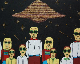 OOAK Space Kids UFO Painting Fine Art for Fans of Science Fiction Sifi Fun Zombies.