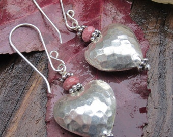 Textured Bali Silver Heart and Faceted Pink Rhodonite Dangle Earrings