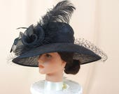 Black Kentucky Derby Hat * Sinamay Black Hat * Wide Brim Hat * Church Hat * Wedding Hat * Royal Ascot Hat * Elegant Evening Hat