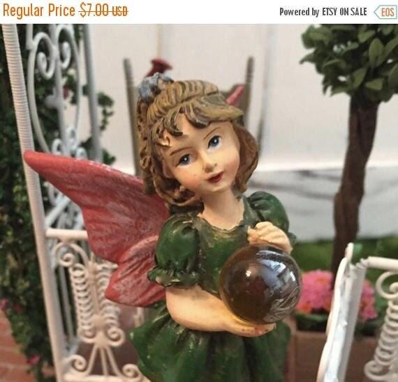 SALE Garden Fairy Figurine, Standing Fairy Holding Gazing Ball, Pink Wings, Green Dress, Fairy Garden Accessory, Home & Garden Decor