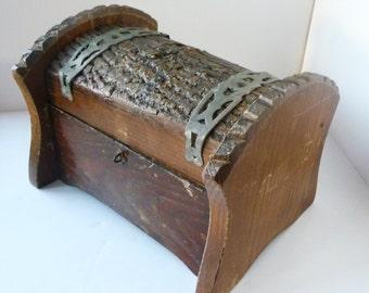 Wood Box With Natural Bark Treasure Chest Rustic Tramp Art