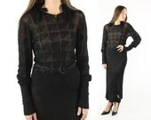 Vintage 20s 30s Sweater Skirt Long Sleeve Blouse Fitted Ruffled Neckline 1920s 1930s Black Dress Small S