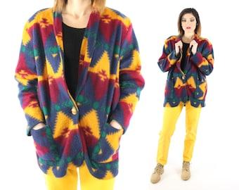 Vintage 80s Fleece Indian Blanket Jacket Blazer Southwestern Winter Coat 1980s Medium M Large L Gold Burgundy Multicolored