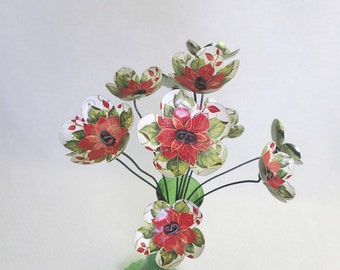 Lovely Red and Green  Bouquet  of Tin Forever Blooming Flowers