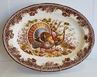 Vintage Large Thanksgiving Turkey Platter Made in Japan Transferware?