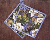 """Quilted Potholders """"White and Purple Blossoms"""" Set of 2 Fabric Hot Pads, Quiltsy Handmade, Quilted Trivet, Hostess Gift"""