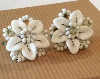 Antique West Germany Earrings, White Flower with Clear Rhinestones, Lucite and white Beads