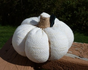 Large Fall Stuffed Fabric Pumpkin - Off-white Sweater Knit