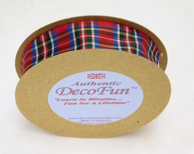 Royal Stewart Plaid Ribbon, 1 inch width Woven Edge Tartan, genuine Scottish plaid, Made in England, code RSP25