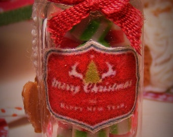 12th Scale Dolls House Jar of Festive Holiday Candies