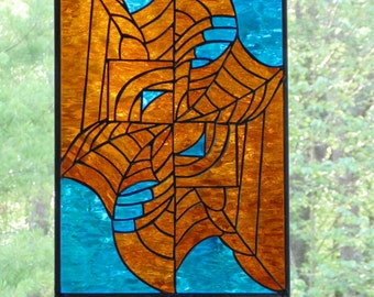 Stained glass abstract panel, turquoise copper web design, modern window art decor, large glass suncatcher