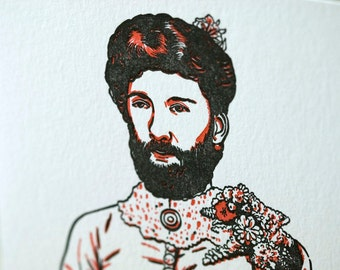 SALE - Letterpress Circus Bearded Lady card - 60% off