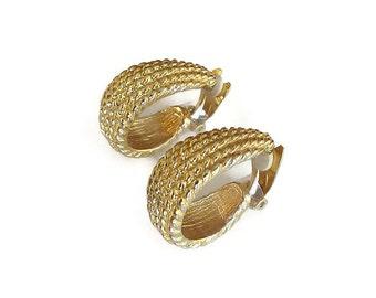 Paolo Gucci Earrings, Hoop Earrings, Gold Tone, Ribbed, Gold Hoops, Wide Chunky, Vintage Earrings, Vintage Hoops, Vintage Jewelry