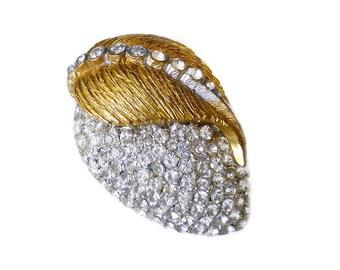Hattie Carnegie Rhinestone Brooch - Diamante Rhinestone, Strawberry Fruit, Gold Brooch, Designer Brooch, Vintage Brooch, Vintage Jewelry