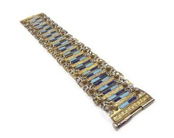 Vintage Greece Gold Tone Enamel Bracelet - Greek Key, Blue Enamel, Wide Bracelet, Vintage Bracelet, Vintage Jewelry