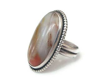 Sterling Agate Large Oval Ring - Dotted Edge, Sterling Silver Ring, Southwestern, Boho Jewelry, Vintage Ring, Size 7 to 7 1/4