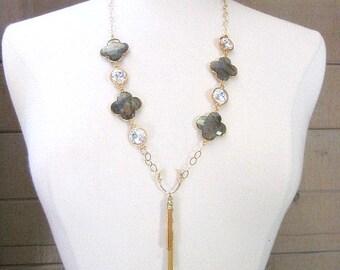 Labradorite & Crystal Necklace -- Gemstone Tassel Necklace -- Long Labradorite Necklace -- Grey and Gold Charm Necklace -- Quatrefoil Charm