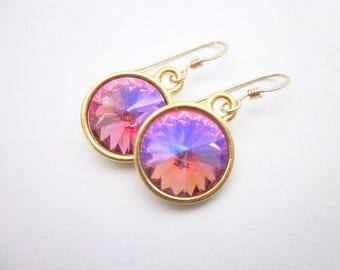 Pink Swarovski Dangle Earrings -- Rainbow Pink Earrings -- Iridescent Crystal Earrings -- Pink & Purple Crystal Dangles -- Glacier Earrings