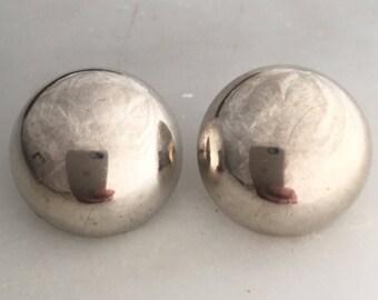 Large Vintage Sterling Silver Dome Stud Earrings