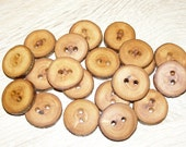 "Small 20 Handmade apple wood Tree Branch Buttons with Bark, accessories (0,87'' diameter x 0,20"" thick)"