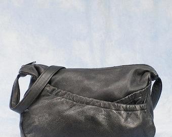 20% OFF RARE Vintage 80s Heacock USA Deerskin Pebbled Leather Hobo Shoulder Cross-Body Bag