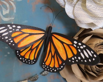 Giant ORANGE MONARCH butterfly - wall decor wall art paper sculpture