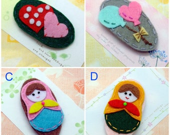 Handmade felt snap hair clip (FC- Group 8)