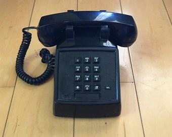 Vintage Black Phone Push Button Desk Top Telephone