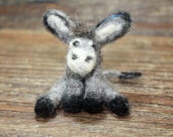 Needle Felted Miniature Donkey, Felted Wool Donkey, Miniature Donkey, Primitive Felted Donkey  Handcrafted Felted Donkey, Maine Made
