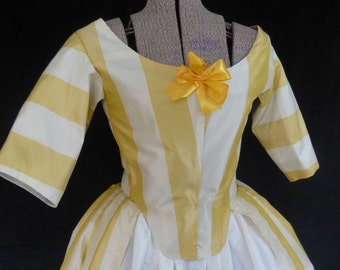 Silk Polonaise Gown with petticoat, 18th century, size 10