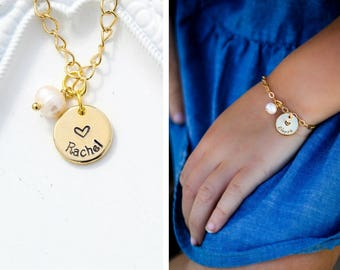 SALE • Girls Name Bracelet • Personalized Flower Girl Bracelet Charm Gold Toddler Jewelry•Girls Gift Child Bracelet Bridesmaid Gift Bracelet