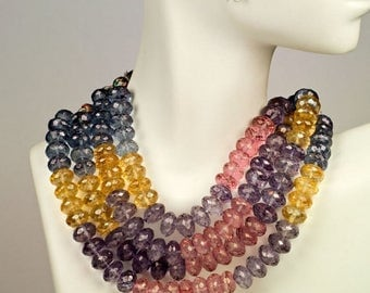 ON SALE Mystic Blue Quartz Rondelles Faceted Pink Yellow Purple Coated Quartz Rondels Roundels Earth Mined Gemstone -  9mm, 4 Inch Strand