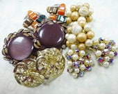 Vintage Earrings Estate Costume Jewelry Lot (5) Pairs Clip Screw Back Style Retro Fashion Mix NICE Rhinestones Beaded