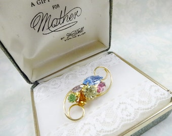 A Gift For Mother Vintage Rhinestone Brooch Pin In Presentation Display Box Estate Costume Jewelry