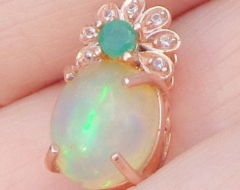 Welo Opal Pendent, New 10K Solid Rose Gold Setting, Ethiopian Opal Cabochon, Blue,Green,Peach,Yellow,Lavender Color Play,Emerald, OOAK
