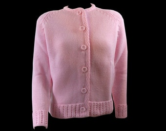 Pretty in Pink Vintage Knit Cardigan, Button Front Sweater Size Medium