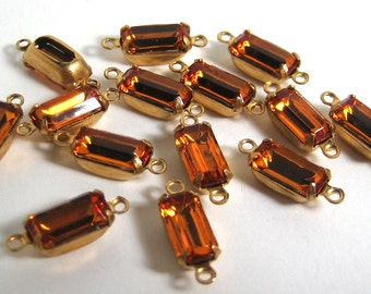 14 - 10x5 Yellow Golden Topaz Octagons Mounted in 2 Ring Brass Prong Rhinestone Setting