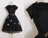 r e s e r v e d /// Vintage 50s Dress | vintage 1950s dress | black embroidered party dress xs | 5824