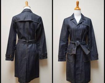 BARNEYS New York/COOP DARYL K-189 Belted Denim Coat Dress Trench Coat Size S