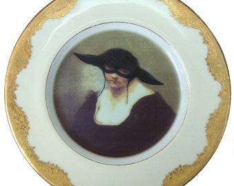Portrait of The Black Sheep - Altered Vintage Plate 7.9""