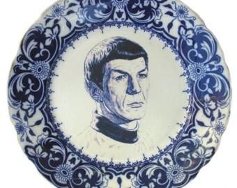 "Flow Blue Frankenstein Portrait Plate -  Altered Antique Plate 10"""