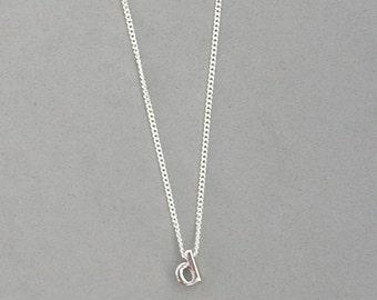 Rhodium Initial d Necklace